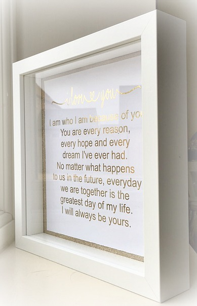 I Love You Worded Frame – Gold Foil – Foiled Writing – Wedding Gift ...