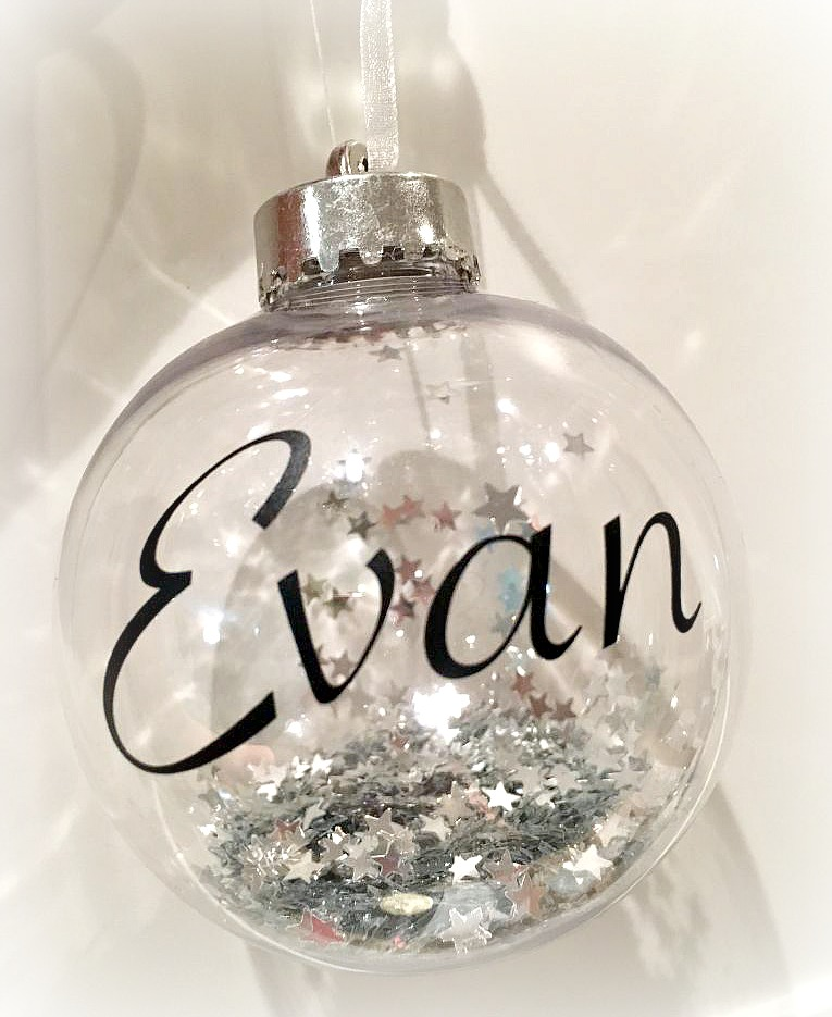 Personalised Name Christmas Tree Bauble - Sparkles & Glitter